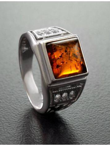 Classic Men's Signet Ring With Cognac Amber In Sterling Silver The Cesar, Ring Size: 13 / 22, image , picture 2