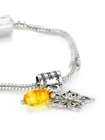Metal Charm With Lemon Amber The Butterfly, image , picture 2