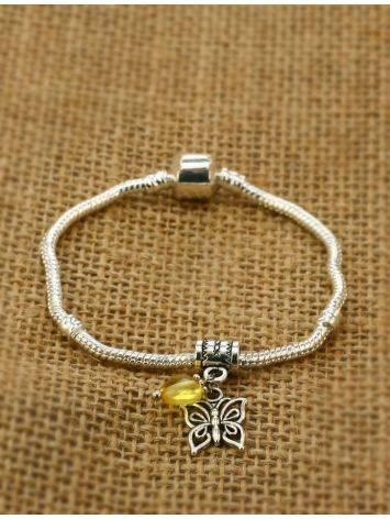 Metal Charm With Lemon Amber The Butterfly, image , picture 3