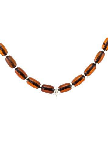 Cognac Amber Beaded Necklace With Bail, image , picture 3