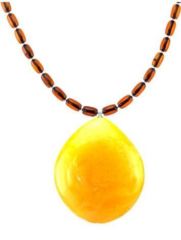 Cognac Amber Beaded Necklace With Bail, image , picture 4