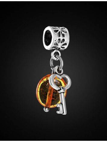 Metal Charm With Cognac Amber The Key, image , picture 3