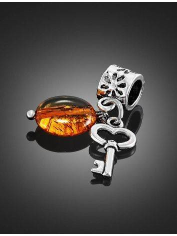 Metal Charm With Cognac Amber The Key, image , picture 2