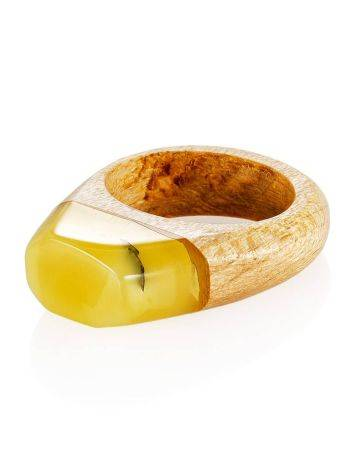 Exotic Style Wooden Amber Ring The Indonesia, Ring Size: 8 / 18, image , picture 3