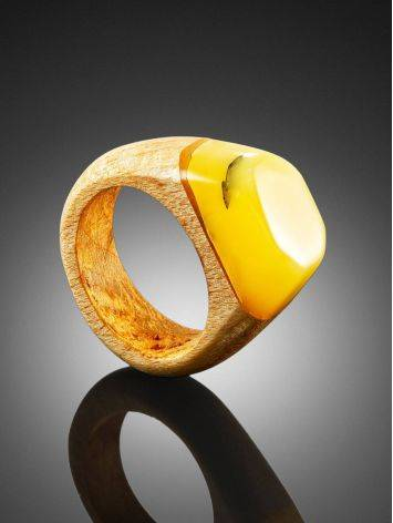 Exotic Style Wooden Amber Ring The Indonesia, Ring Size: 8 / 18, image , picture 2