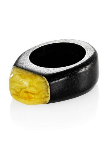 Eco Style Wooden Ring With lemon Amber The Indonesia, Ring Size: 6.5 / 17, image , picture 3