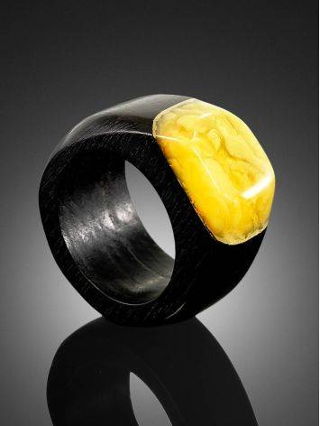 Eco Style Wooden Ring With lemon Amber The Indonesia, Ring Size: 6.5 / 17, image , picture 2