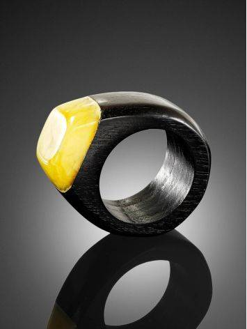 Eco Style Wooden Ring With lemon Amber The Indonesia, Ring Size: 6.5 / 17, image , picture 4