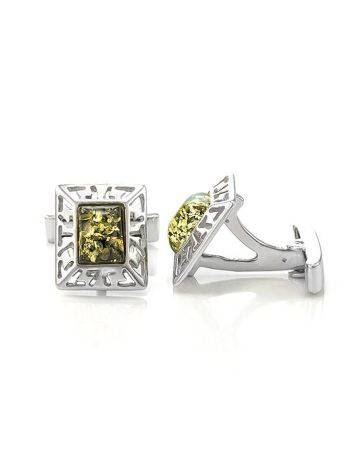 Geometric Silver Cufflinks With Green Amber The Ithaca, image , picture 3