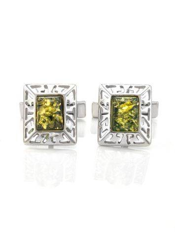 Geometric Silver Cufflinks With Green Amber The Ithaca, image , picture 4