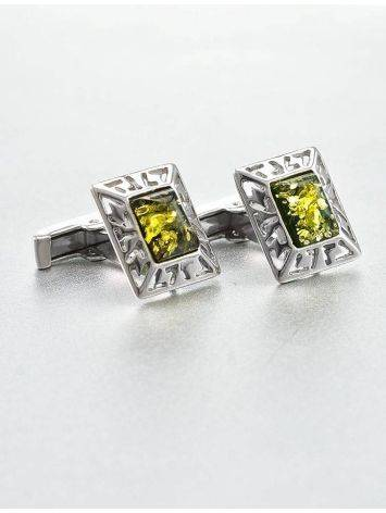 Geometric Silver Cufflinks With Green Amber The Ithaca, image , picture 2