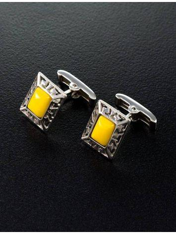 Bold Honey Amber Cufflinks In Sterling Silver The Ithaca, image , picture 5