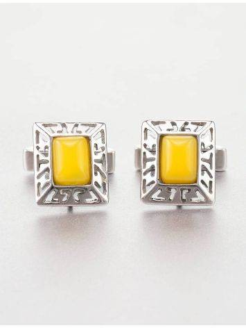 Bold Honey Amber Cufflinks In Sterling Silver The Ithaca, image , picture 2