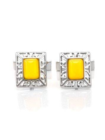 Bold Honey Amber Cufflinks In Sterling Silver The Ithaca, image , picture 4
