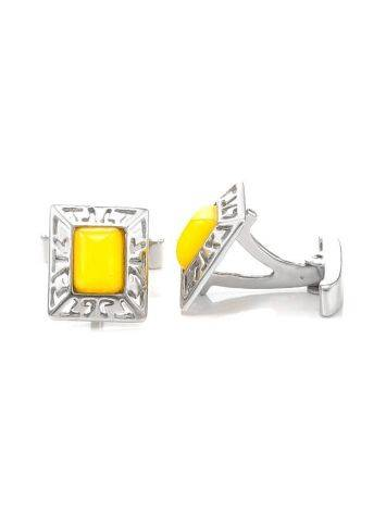 Bold Honey Amber Cufflinks In Sterling Silver The Ithaca, image , picture 3