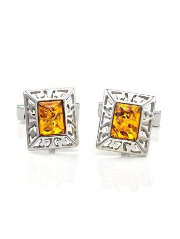 Stylish Geometric Cufflinks With Cognac Amber In Silver The Ithaca, image , picture 5