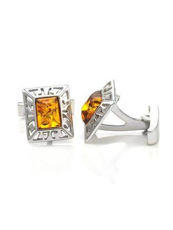 Stylish Geometric Cufflinks With Cognac Amber In Silver The Ithaca, image , picture 4