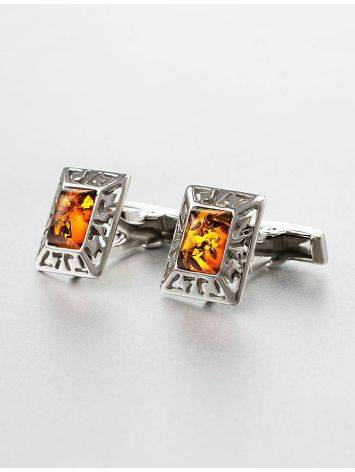 Stylish Geometric Cufflinks With Cognac Amber In Silver The Ithaca, image , picture 2