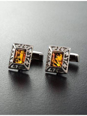 Stylish Geometric Cufflinks With Cognac Amber In Silver The Ithaca, image , picture 6