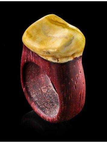 Padauk Wood Ring With White Amber The Indonesia, Ring Size: 11 / 20.5, image , picture 2