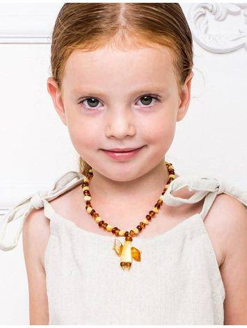 Amber Teething Necklace With Angel Shaped Pendant, image , picture 3
