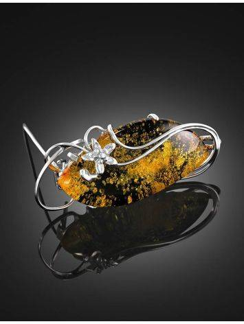 Sterling Silver Handcrafted Brooch With Green Amber The Rialto, image , picture 2