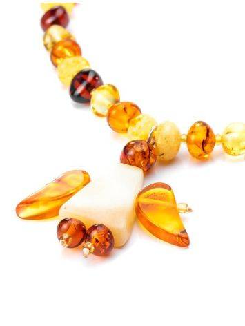 Amber Teething Necklace With Angel Shaped Pendant, image , picture 5