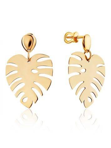 Palm Leaf Motif Gold Earrings, image