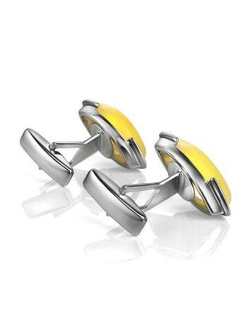 Amber Cufflinks In Sterling Silver The Petal, image , picture 3