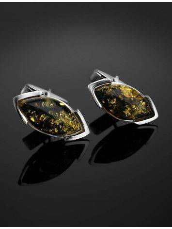 Sterling Silver Cufflinks With Leaf Cut Amber The Petal, image , picture 2
