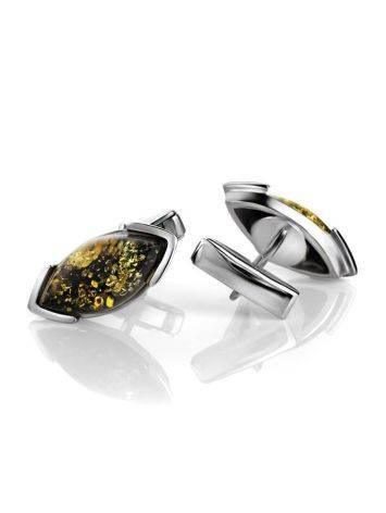 Sterling Silver Cufflinks With Leaf Cut Amber The Petal, image , picture 3