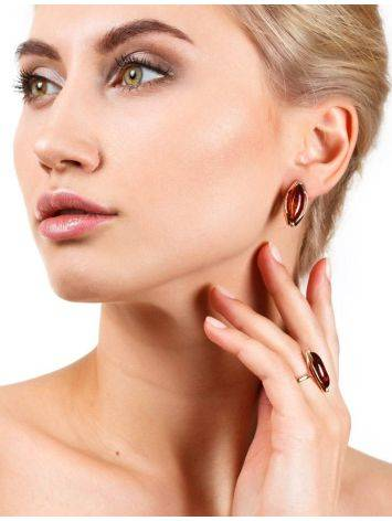 Chic Golden Earrings With Cognac Amber The Ballade, image , picture 3