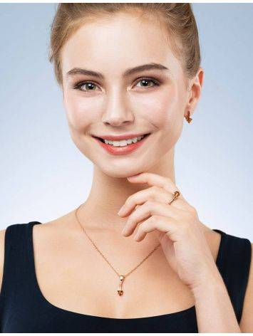 Stylish Golden Earrings With Amber, image , picture 3