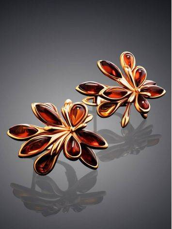 Cognac Amber Earrings In Gold The Dahlia, image , picture 2