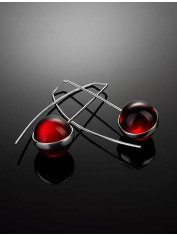 Silver Threader Earrings With Red Amber The Sorbonne, image , picture 2