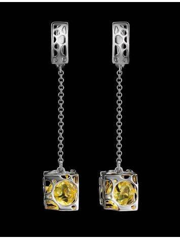 Lemon Amber Earrings In Sterling Silver The Geneva, image , picture 2