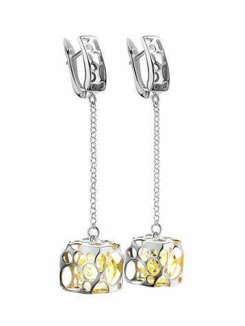 Lemon Amber Earrings In Sterling Silver The Geneva, image , picture 3