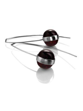 Cherry Amber Silver Threader Earrings The Sorbonne, image , picture 3