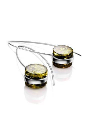 Bold Silver Threaded Earrings With Green Amber The Furor, image , picture 4