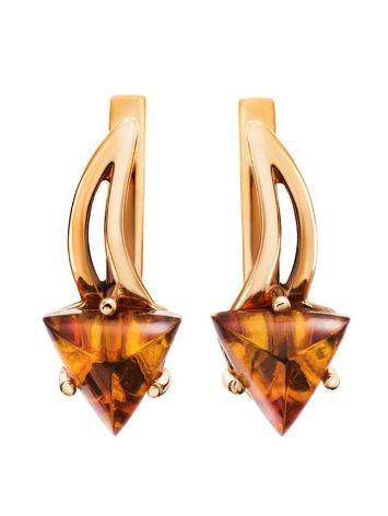 Stylish Golden Earrings With Amber, image , picture 4