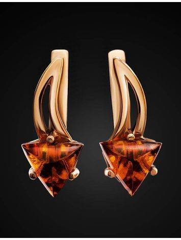 Stylish Golden Earrings With Amber, image , picture 2