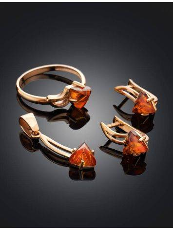 Stylish Golden Earrings With Amber, image , picture 5