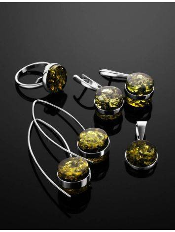 Bold Silver Threaded Earrings With Green Amber The Furor, image , picture 5