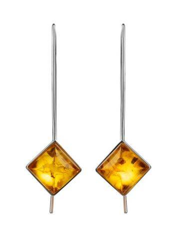 Sterling Silver Threader Earrings With Lemon Amber The Ovation, image , picture 4