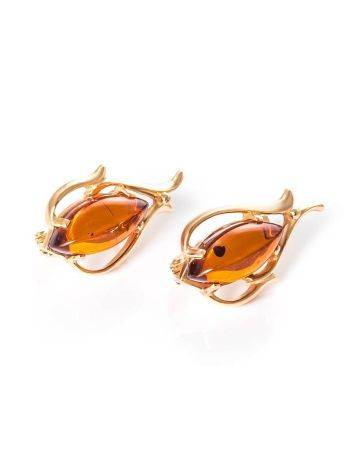 Floral Earrings With Cognac Amber The Tulip, image , picture 3