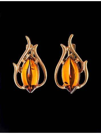 Floral Earrings With Cognac Amber The Tulip, image , picture 2