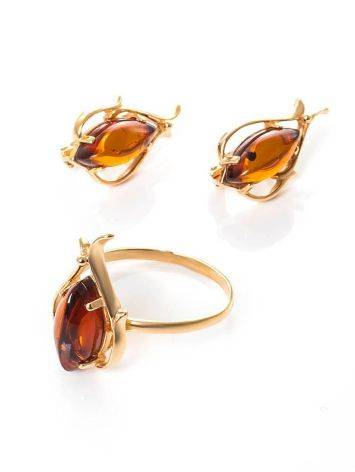 Floral Earrings With Cognac Amber The Tulip, image , picture 4