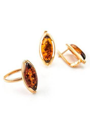 Chic Golden Earrings With Cognac Amber The Ballade, image , picture 7
