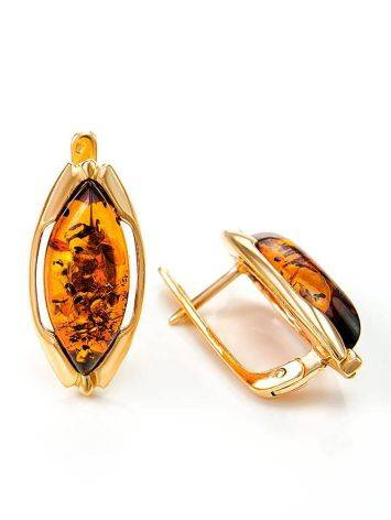 Chic Golden Earrings With Cognac Amber The Ballade, image , picture 6