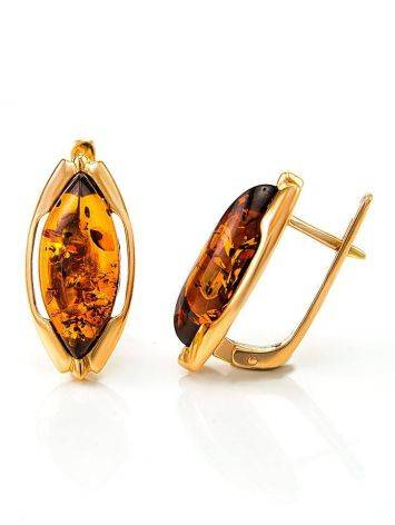 Chic Golden Earrings With Cognac Amber The Ballade, image , picture 4